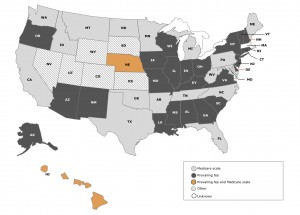 Map of Workers' Compensation Medical Fee Criteria