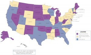 Map of unaccredited degree granting institution regulation in the United States.