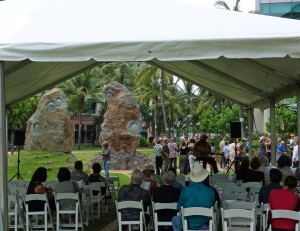 Photo of University of Hawai'i Cancer Center Sculpture Dedication, June 2014