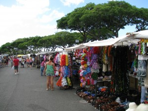Swap meet vendor selling tourist items